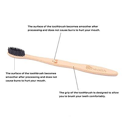 Kimz bamboo toothbrush charcoal black soft bristles natural biodegradable environmental friendly compostable family pack case-pack of 4