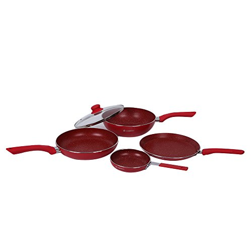 Wonderchef Royal Velvet Non-stick 5-piece Cookware Set (Fry Pan with Lid, Wok, Dosa Tawa, Mini Fry Pan) Induction bottom, Soft-touch handles, Virgin grade aluminium, PFOA/Heavy metals free, 3 mm, 2 years warranty, Red