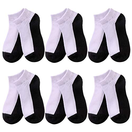 LINEMIN BACK TO SCHOOL - Big Boys Girls 6 Pair Half Cushion No Show Cotton and Soft Breathable Atheletic Socks (7-9 Year Old, 6 Pack Black) -