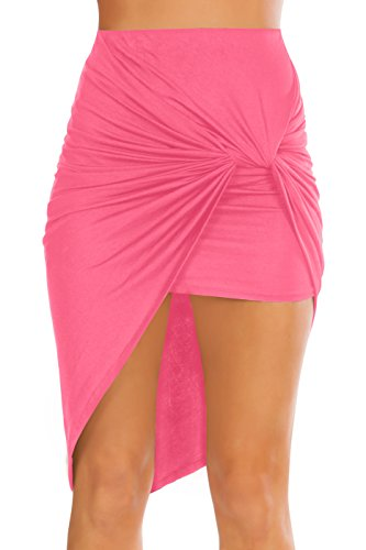 Shorts Black White Coral - Womens Drape Up Stretchy Asymmetrical High Low Short Mini Bodycon Pencil Skirt Dark Coral Large