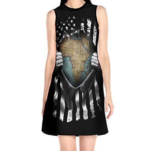 YafukeMao African Map Funny Pull Apart South Africa Sleeveless Dress A-line Mini Party Dress Short Skirt Beach Dress White -