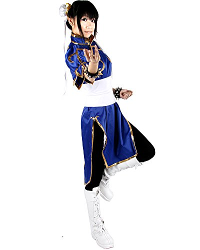 Miccostumes Women's Street Fighter Chun Li Cosplay Costume Small Blue and White
