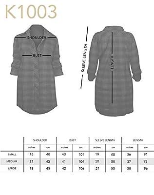 Woman's Checkered Print Oversized Button Up Boyfriend Fit Flannel Shirt Dress