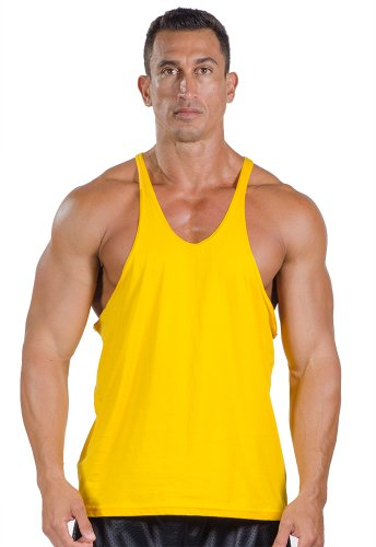 Mens Cotton Stringer Tank Top by Pitbull in Gold, Large