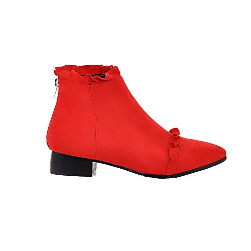 Red Toe Low Suede AgooLar Low Women's Closed Imitated Boots top Heels Zipper Pointed SU7CCzwqI