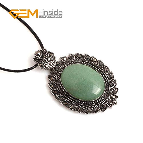 Natural Stone Necklaces | Charm Pendants | Onyx Carnelian Quartz Crystal for Women, Men | Fashionable Jewelry Gift (40x65mm) ()