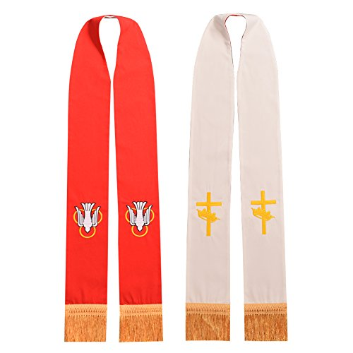 BLESSUME Clergy Church Stole Mass Reversible Stole with Gold Tassels