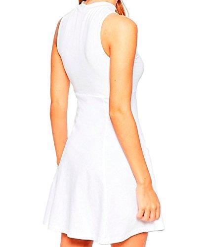 Face N Face Women's Chiffon High Neck Sleeveless Empire Mini Dress X-Large White