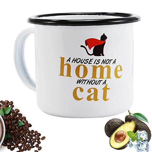 Black Enameled Cat - HUYHUY Simple Black Edge Enameled Cup, Special Cat Pattern Milk Mug, Household And Office Coffee Cup