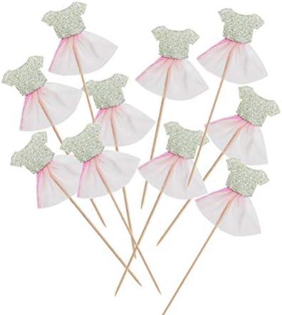 10ピースケーキトッパープリンセススカートケーキフルーツピック魅力的なカップケーキデザートトッパー赤ちゃん誕生日パーティーレイアウト用品