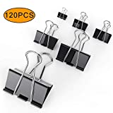 Osportfun 120PCS Metal Binder Clips Paper Clamp, Large, Small, Medium, Mini Black Paper Binder Clip, One Box
