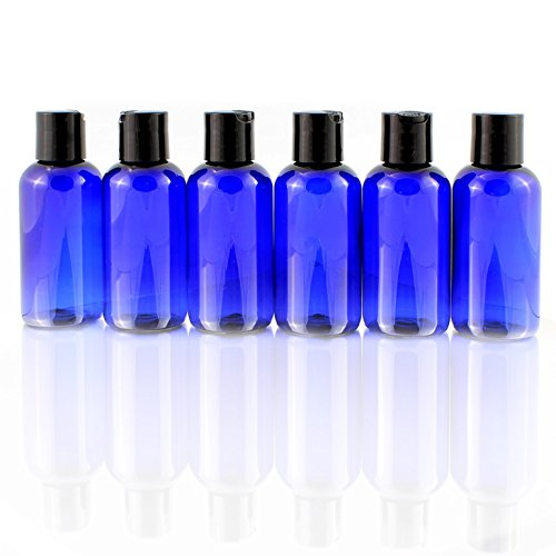 6 pack 4oz Empty Cobalt Blue Plastic Squeeze Bottles with Disc Top Flip Cap ...