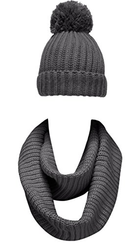 NEOSAN Women Winter Thick Knit Infinity Loop Scarf And Pom Pom Hat Set Plain Charcoal (Set Women Snowboarding)