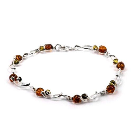 Sterling Silver Multicolor Amber Link Bracelet Length 7.2 (Sterling Silver Amber Gemstone Bracelet)