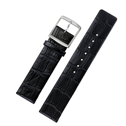 16mm Ladies' Luxury Thin Watch Straps for High-end Slim Faced Watches Black Genuine Italian Leather