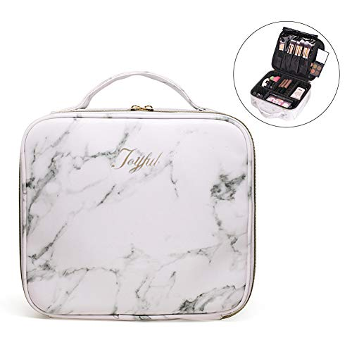 Joyful Professional Travel Makeup Case,Marble Makeup Cosmetic Train Case Organizer Bag with Dividers Brush Holder