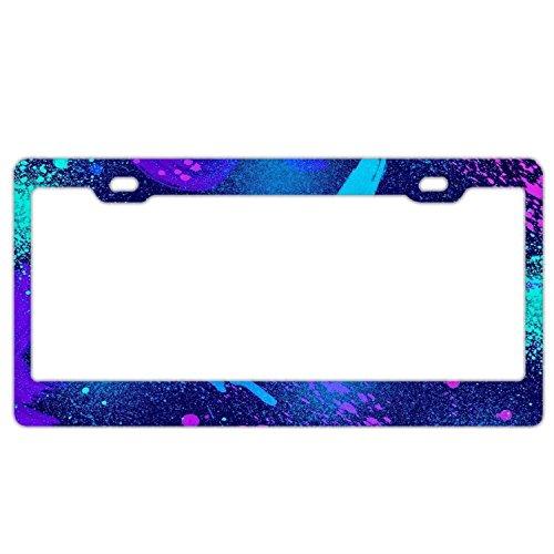 Blue Purple Tie Dye License Plate Frame Car Tag Holder Stainless Steel Metal License Plate Frame ()