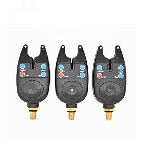 3 x Pesca de Carpas Alarmas Indicador Digital con Control de sensibilidad de volumen y de tono