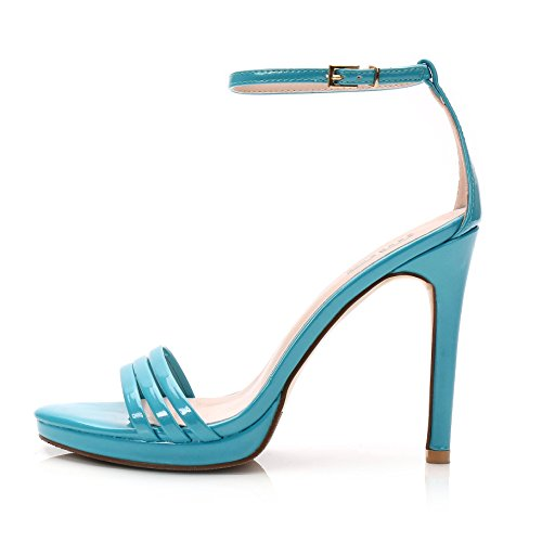 Stiletto Blue Toe Peep Donna Alti Strap Ladies Simple Buckle Summer WWUX da Shoes Sandali 38 Platform Tacchi ZTwzqPU