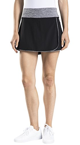 Wrap Tennis Prince - Prince Women's Stretch Woven Wrap Tennis Skort, Black/Grey Heather, X-Large