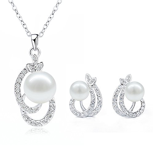 Morenitor Jewelry Set Gold Plated Faux Pearl Pendant Necklace Dangle Earring Stud Set for Women