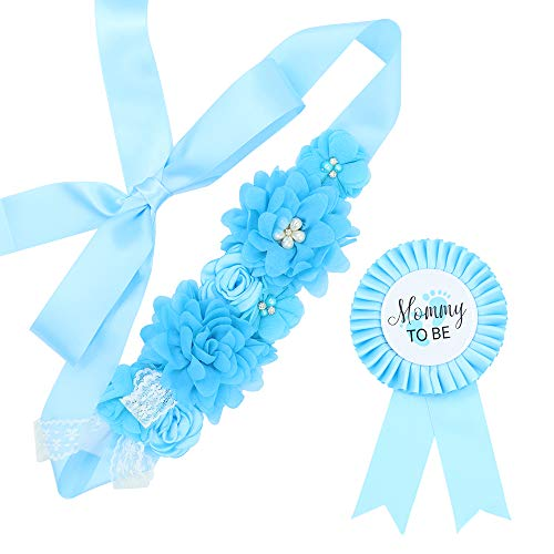 Baby Blue Maternity Sash Mommy Corsage – Baby Shower Sash Baby Boy Pregnancy Sash Keepsake Baby Shower Flower Belly Belt