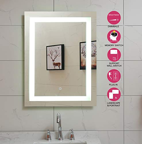 24X32 Inch LED Lighted Bathroom Mirror with Dimmable Touch Switch (GS099D-2432N) (24X32 inch New)