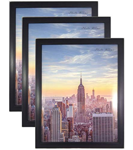 Frame Amo Contemporary Black 10x12 Wood Picture Photo Frame, Flat Border, 3-Pack (12 Frames Photo 10 X Glass)