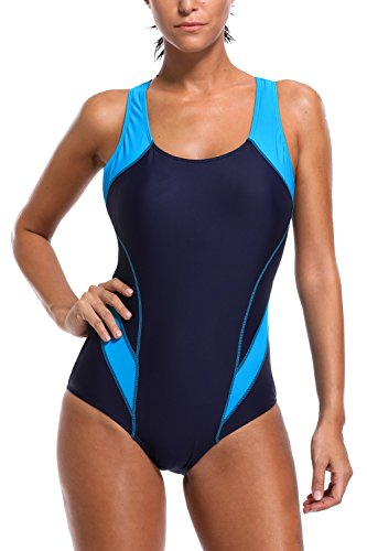 BeautyIn Women's Athletic One Piece Swimsuits Colorblock Sports Swimwear Deep Blue - Swimsuits Chlorine Resistant