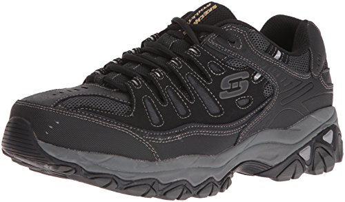 Skechers Men's AFTER BURN M.FIT Memory Foam Lace-Up Sneaker, Black, 10 M (Black Men Sneakers)
