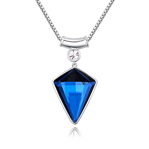 The Starry Night 18K Shining Geometric Choker Style Triangle Shape Blue Crystal Pendant Necklace with Box Chain