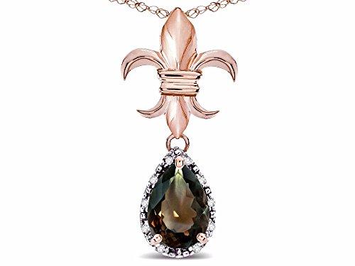 Star K Pear Shape 8x6mm Genuine Smoky Quartz Fleur De Lis Pendant Necklace 18k Rose Gold ()