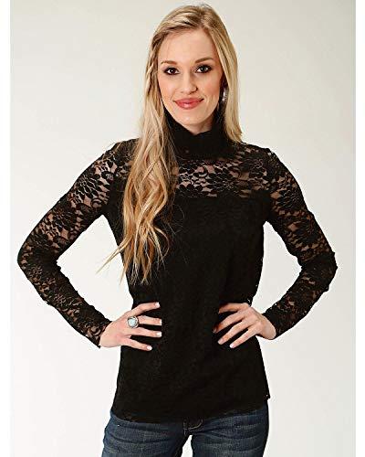 (Roper Women's Lace Mock Neck Top Black Large)