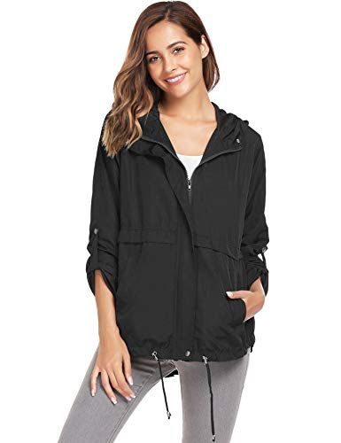 Zeagoo Women Waterproof Rain Jacket Hoodie Windproof Outdoor Coat Venture -