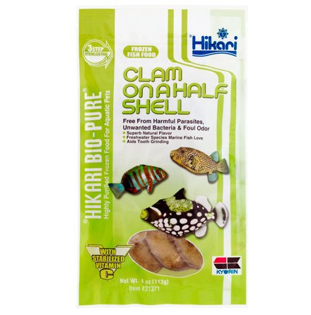 Hikari 042125 Bio-Pure Frozen Clam On A Half Shell Flat Pack, One Size - Frozen Clams