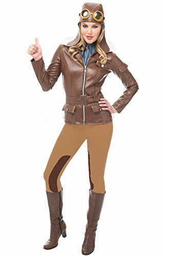 Franco American Novelty Company Lady Lindy Flying Pilot Woman Costume, Brown, Medium -