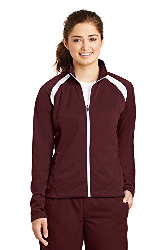 Sport-Tek Women's Long-Sleeve Full Zip Polyester Athletic Running Tricot Track Jacket,4X Plus,Maroon/white by Sport-Tek