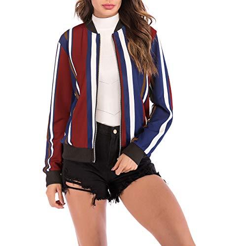 Baseball Moda Blouse Tops Otoño de Impresion Casual Outerwear Joven Mujeres Larga Fashion Primavera Jacket Coat Cazadora y Ropa Bomber Abrigo Chaquetas Manga Simple Corto n68wq