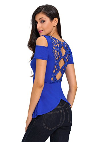 Neue Damen Blau Crochet Spitze Rückseite Kalte Schulter Top Club Wear Sommer Casual Tops Größe S UK 8–10EU 36–38