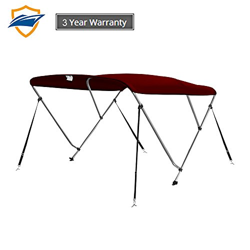 Seamander Bimini Tops for Boats,Boat Canopy Cover Top 4 Straps for Front and Rear Includes with Mounting Hardware (Burgundy, 3 Bow 6' Lx 61