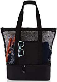 Mesh Beach Bag 32L Waterproof Backpack,with Detachable Cooler Zipper Pockets Practical Storage Toy Pool Campin
