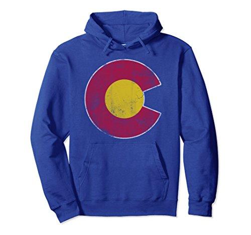 Unisex Vintage Faded Colorado Flag Hoodie Large Royal Blue