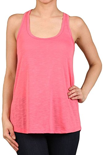- Expert Design Women's Regular Solid Color Sleeveless Slub Knit Tank Top - Coral S