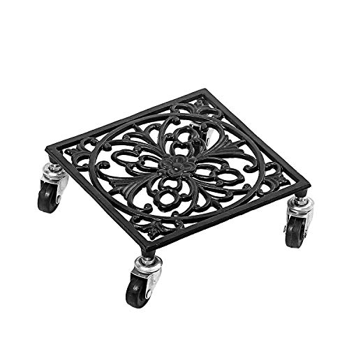 MBQQ Cast Iron Plant Caddy Heavy Duty Iron Potted Plant Stand with Wheels Square Flower Pot Rack Indoor Outdoor Planter,Black