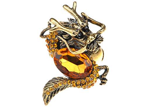 Alilang Golden Topaz Color Rhinestone Vintage Medieval Fantasy Mystic Dragon Zodiac Ring
