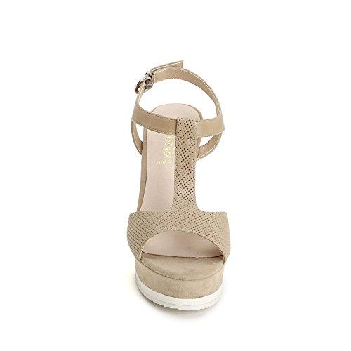 ALESYA by Scarpe&Scarpe - Sandalias altas con T-bar y micrograbado láser Beige