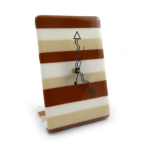 American Made Contemporary Style Fused Glass Desk Clock: Mocha Stripe