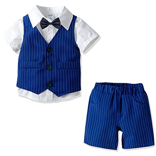 Baby Boy Formal Outfit Short Sleeve Shirt Shorts Vest Tuxedo Plaid Gentleman Suit Set (Stripe Blue 2-3Years)