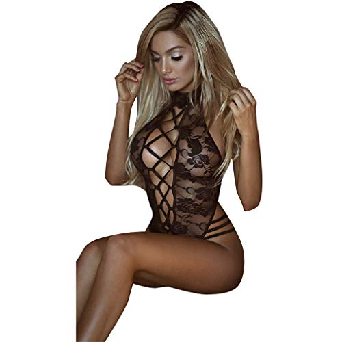 Seductive Lingerie,WANQUIY Womens Strappy Hole Lace Trim Sleepwear Shapewear Romper Nightwear Underwear G-String Black ()