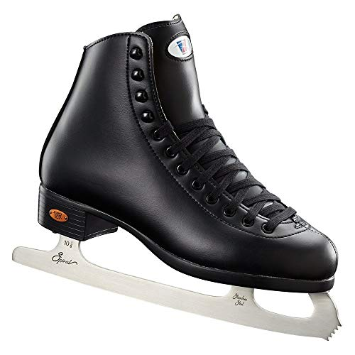 Riedell Skates - 110 Opal - Recreational Ice Skates with Stainless Steel Spiral Blade for Men | Black | Size 10 (Renewed)